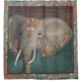 Elephant Kashmir Kani Paisley Tribal Bath Decor Shower Curtain