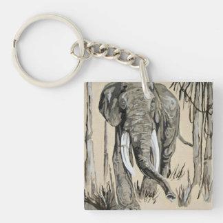 Elephant Single-Sided Square Acrylic Keychain