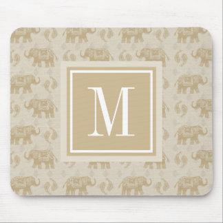 Elephant Khaki Caravan Pattern Mouse Mat