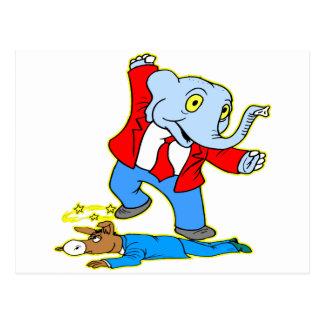 Elephant Kicking Donkey Postcard