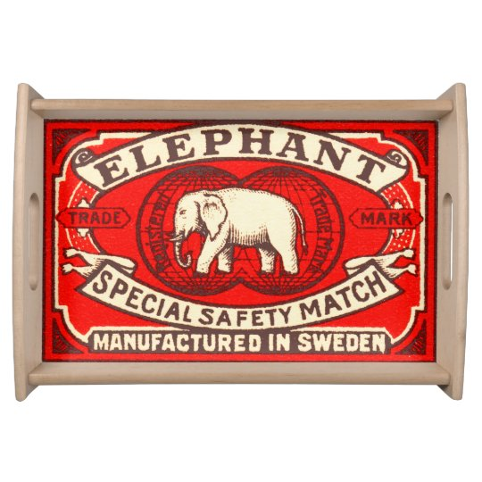 Elephant Label Art Serving Tray