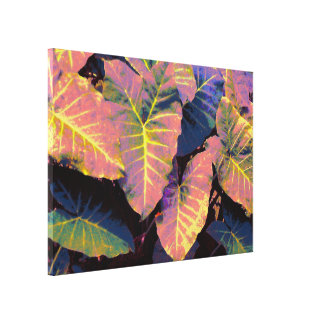 Elephant Leaves in Tropical Pastels Canvas Print