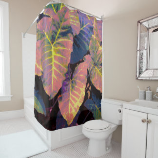 Elephant Leaves in Tropical Pastels Shower Curtain