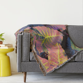 Elephant Leaves in Tropical Pastels Throw Blanket