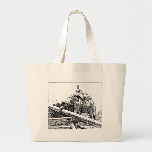 Elephant logging canvas bag