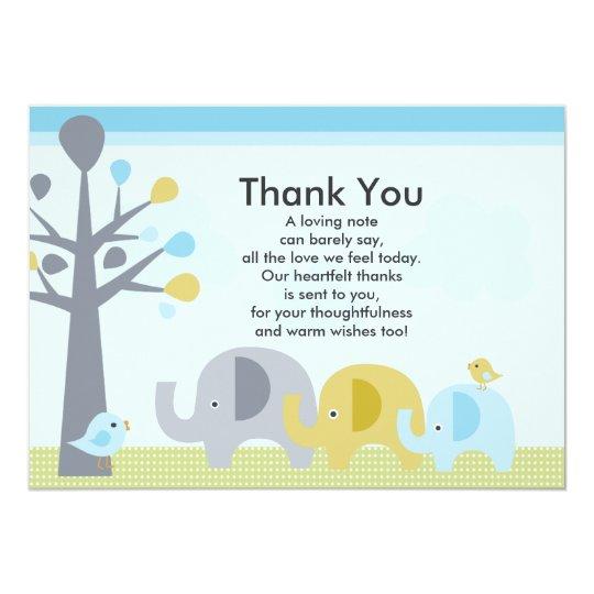 elephant love baby shower thank you card zazzlecouk