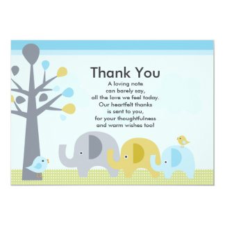Elephant Love Baby Shower Thank You Card 13 Cm X 18 Cm Invitation Card