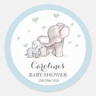 Elephant Love Blue Baby Shower Sticker Round Sticker