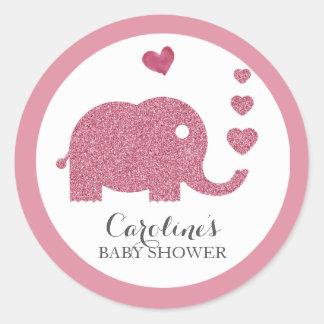 Elephant Love Pink Glitter Baby Shower Sticker