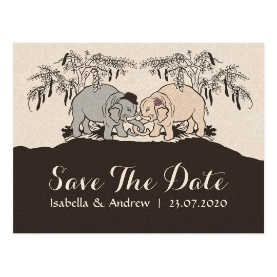Elephant Love save the date Postcard