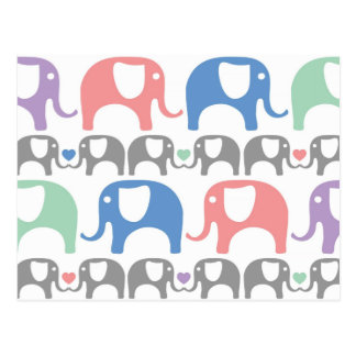 Elephant Love Soft Pastel Pattern with hearts Postcard