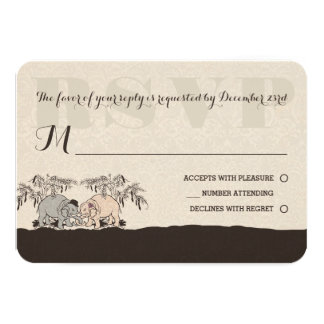 Elephant Love Wedding Rsvp Card 9 Cm X 13 Cm Invitation Card