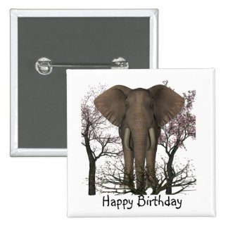 Elephant Lover Birthday 15 Cm Square Badge