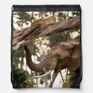 Elephant (Loxodonta) Testing Scent Of Leopard Drawstring Bag