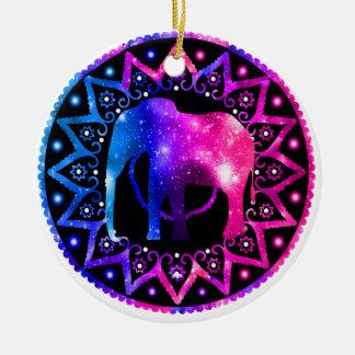 Elephant Mandala Christmas Ornament