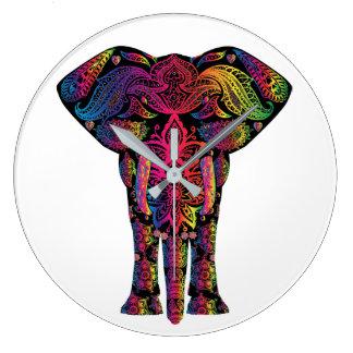Elephant Mandala Pattern Pretty Bold Bright Colors Large Clock