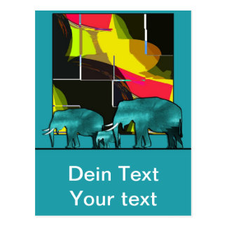 Elephant map post card
