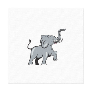 Elephant Marching Prancing Cartoon Stretched Canvas Print