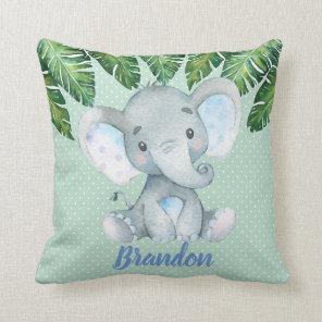 Elephant Mint Green Tropical Boy Nursery Decor Cushion