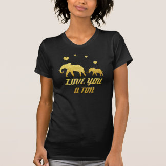 Elephant mom and baby faux gold hearts print tee shirts