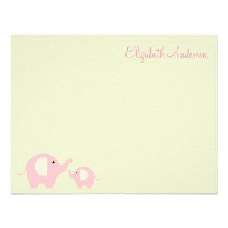 Elephant Mom and Baby Flat Thank You Notes Custom Invite
