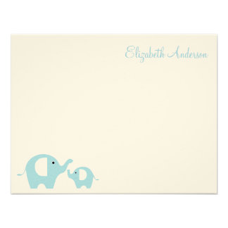 Elephant Mom and Baby Flat Thank You Notes Personalized Invite