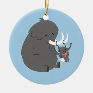 Elephant Mommy and Baby Christmas Ornament