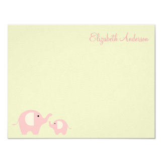 Elephant Mum and Baby Flat Thank You Notes 11 Cm X 14 Cm Invitation Card