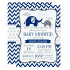 Elephant Navy Blue Grey Baby Shower Card