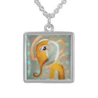 Elephant Square Pendant Necklace