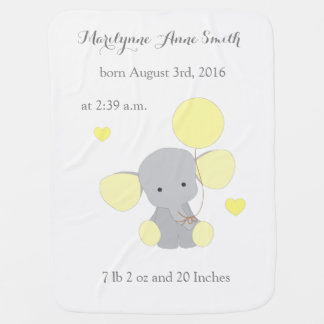 Elephant Neutral Baby Birth Stats Yellow Chevron Baby Blanket