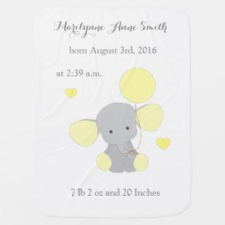 Elephant Neutral Baby Birth Stats Yellow Chevron Buggy Blanket