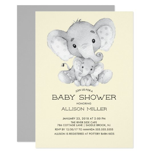 Elephant Neutral Baby Shower Invitation