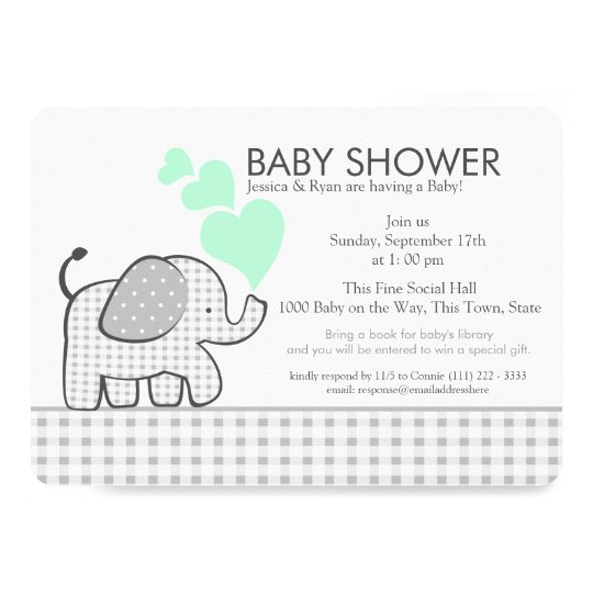 Elephant Neutral Mint and Grey Gingham Baby Shower