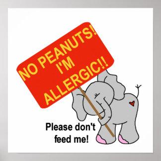 Elephant No Peanuts I'm Allergic Poster
