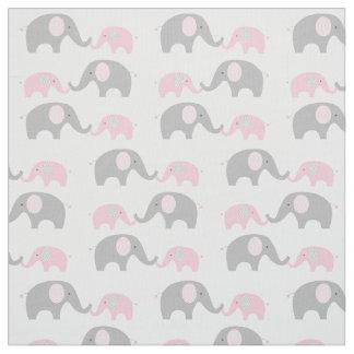 Elephant Nursery Fabric Pink & Grey
