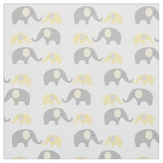 Elephant Nursery Fabric Yellow & Grey