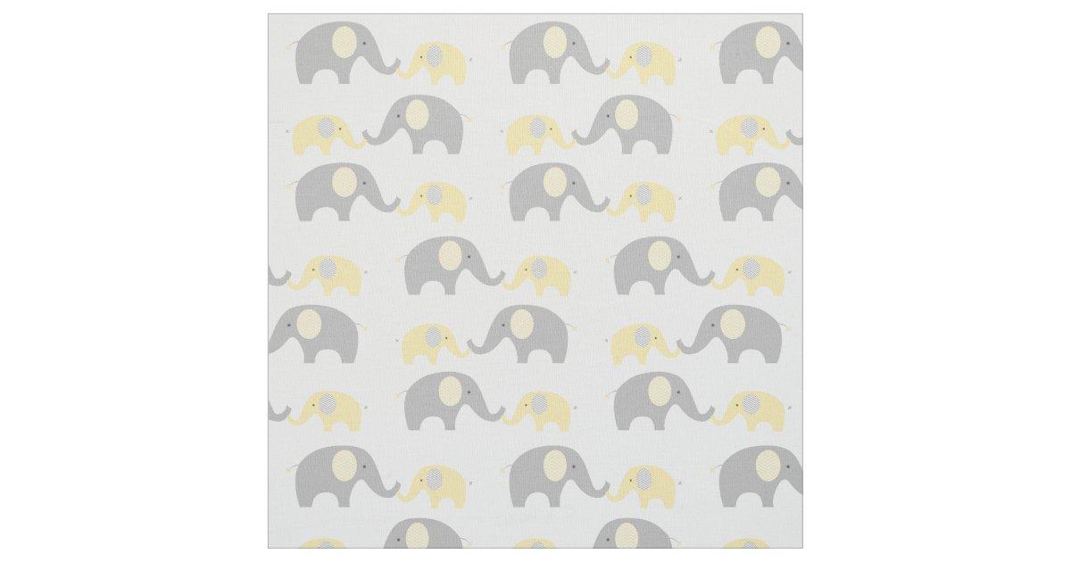 Elephant nursery fabric yellow grey zazzle for Grey nursery fabric