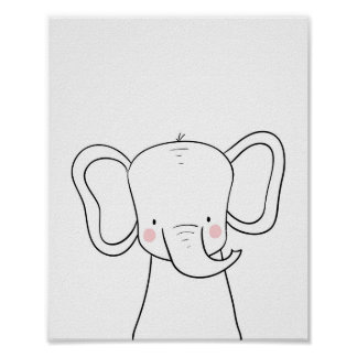 Elephant Nursery Print Black white modern Safari