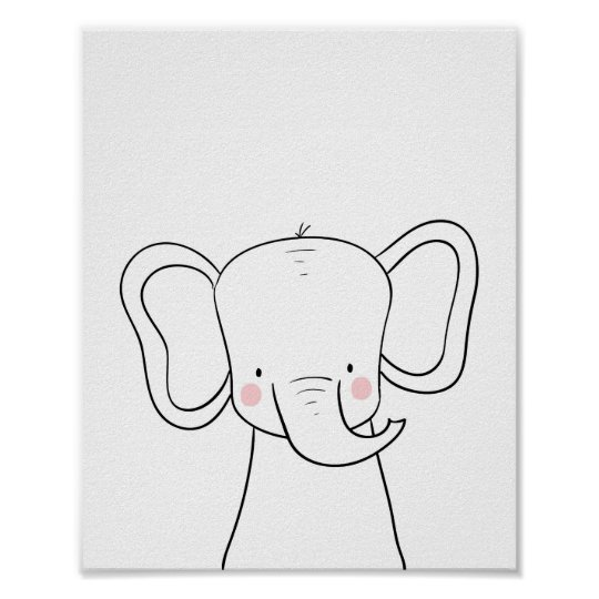 Elephant Nursery Print Black white modern Safari