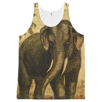 Elephant Octopus Vintage Nature Illustrations All-Over Print Tank Top
