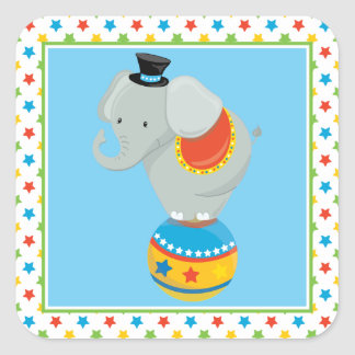 Elephant On Ball | Circus Theme Square Sticker