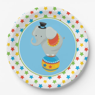 Elephant On Ball | Circus Themed 9 Inch Paper Plate