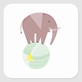 Elephant On Ball Square Sticker
