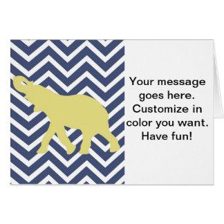 Elephant on Chevron Zigzag - Blue,Yellow and White Greeting Card