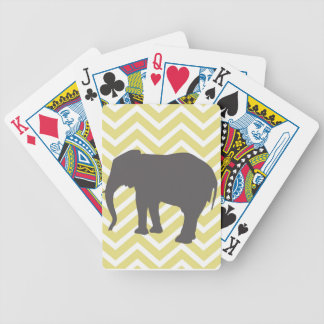 Elephant on Chevron Zigzag - Yellow and White Bicycle Playing Cards