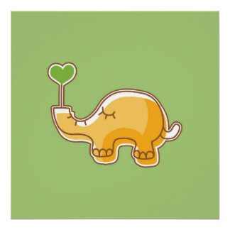 Elephant on Green Background Poster