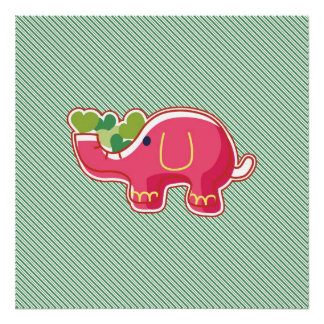 Elephant on Green Diagonal Striped Background Poster