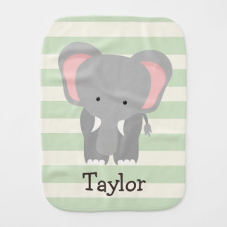 Elephant on Pastel Green Stripes Burp Cloth