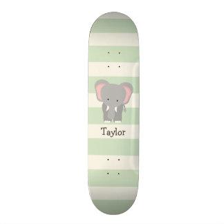 Elephant on Pastel Green Stripes Skate Decks